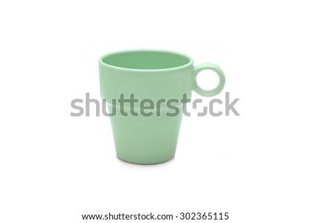 Light green mug isolated on white background - stock photo