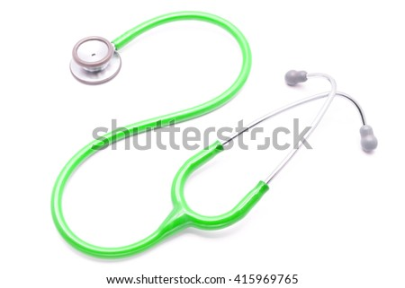 light green stethoscope isolated on white background