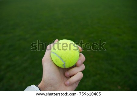 light green tennis ball in hand on the background of the court.