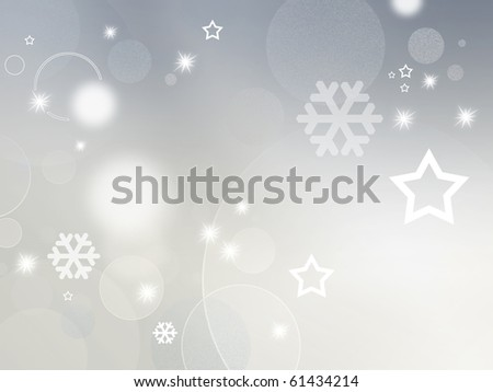Light grey and white background with shiny stars, circles and snowflakes - abstract design for Christmas, New Year and winter themes - stock photo