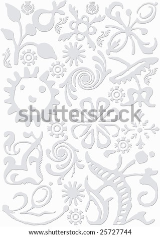 light grey colored background with different signs and symbols