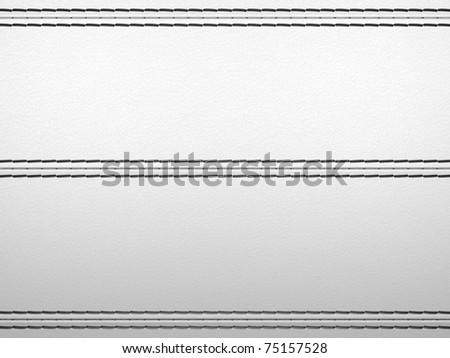 Light grey horizontal stitched leather background. Large resolution - stock photo