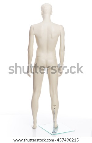light grey men plastic mannequin with head on white background