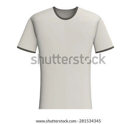 Light grey t-shirt blank design template, front view isolated on white background