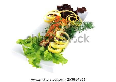 light grilled tuna served on ceramic dish - stock photo