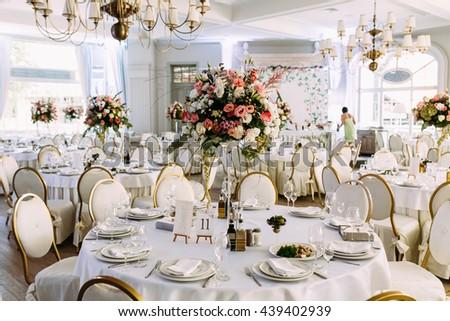 Light hall of the big wedding restaurant - stock photo