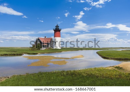 light house off the coast of Cape Cod, Massachusetts, USA - stock photo