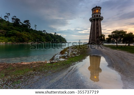 Light house on coastal beach of Langkawi Island. Malaysia.  - stock photo