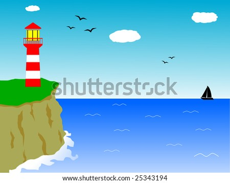 Light house on the top of a cliff, in front of the sea - stock photo