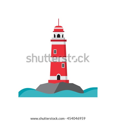 Light house red with white stripes, with a high round roof - stock photo