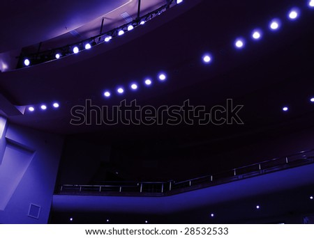 light in a dark hall during a theatrical performance - stock photo
