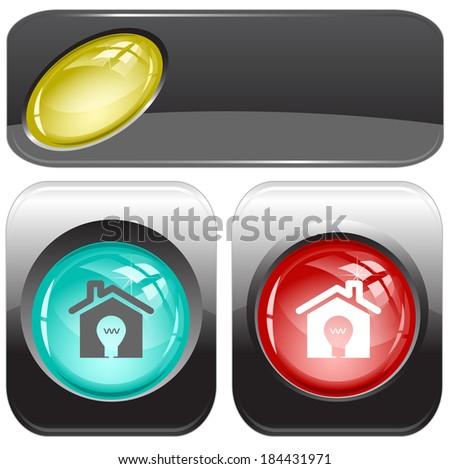 Light in home. Internet buttons. Raster illustration.  - stock photo