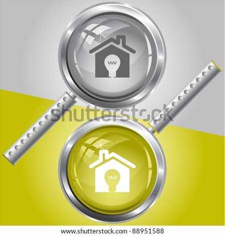 Light in home. Raster magnifying glass. Vector version is in my portfolio. - stock photo