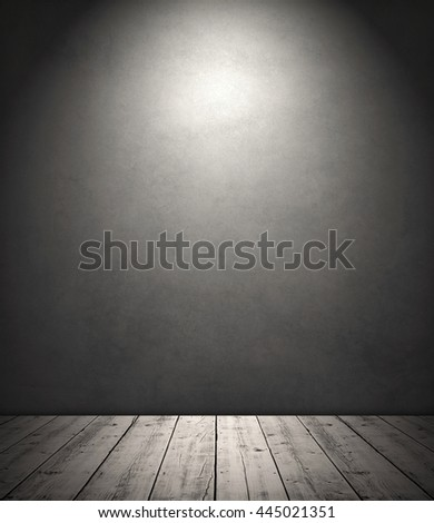 Light in room with wooden floor and vintage wallpaper - stock photo