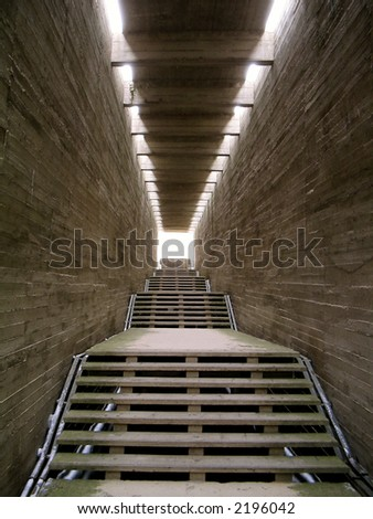 Light in the end of tunnel - stock photo