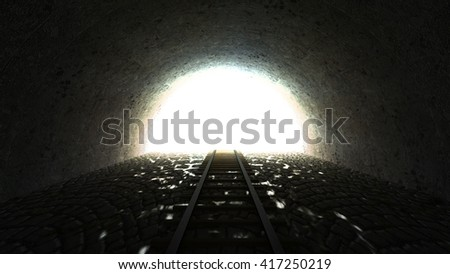 Light in the end of tunnel. 3d render