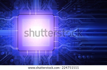 Light in the microchip - stock photo