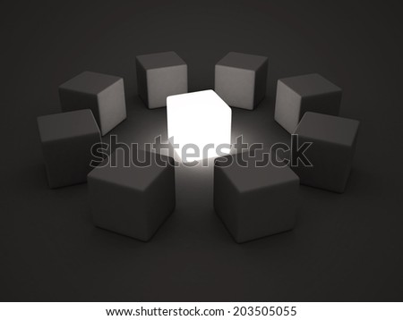 light individual leader block in center of group team. 3d concept render illustration - stock photo