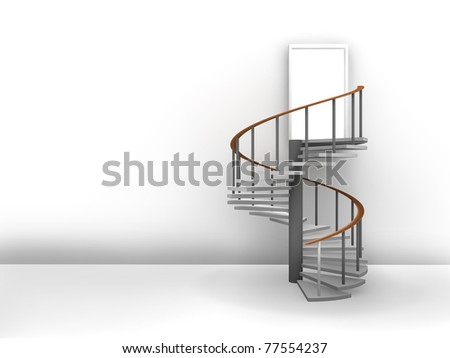 light interior room with stairway. - stock photo