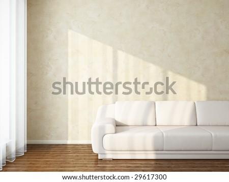 Light interior with sunlight - variations in my portfolio - stock photo