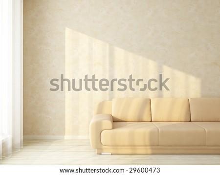 Light interior with sunlight - variations of this interior in my portfolio - stock photo