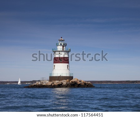 Light is in Fishers Island sound in New York state - stock photo