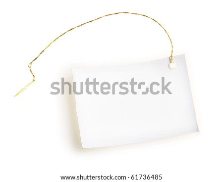 Light label with gold thread on a white background