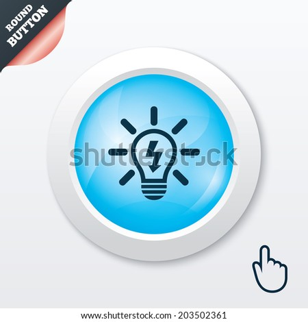 Light lamp sign icon. Bulb with lightning symbol. Idea symbol. Blue shiny button. Modern UI website button with hand cursor pointer. - stock photo