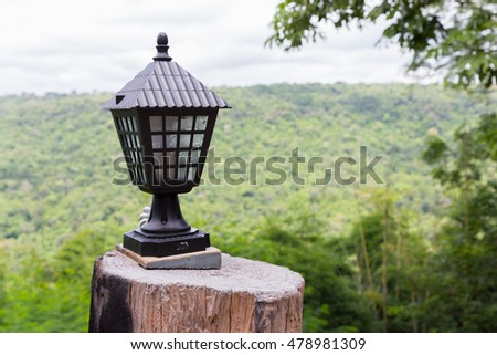 Light lamp with nature outdoor view.