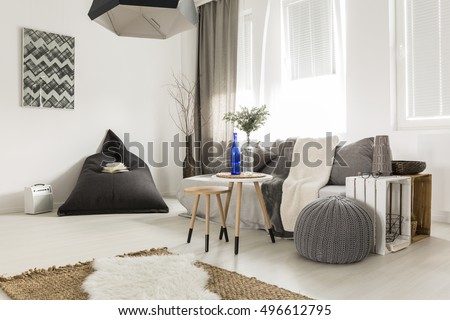 Light Livng Room With Bean Bag Comfortable Sofa DIY Table Window And Stylish