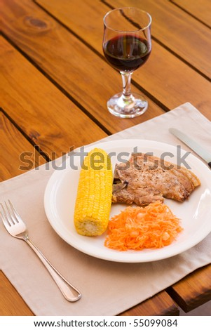 Light lunch served with red wine - stock photo
