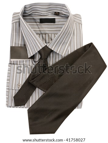 Light man's shirt and tie in shop. - stock photo