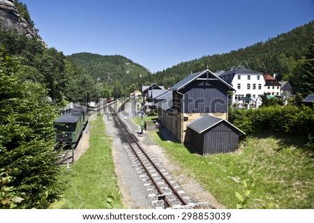 Light narrow-gauge railway in Oybin Germany - stock photo