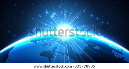 Light of planet earth from the space at night - stock photo