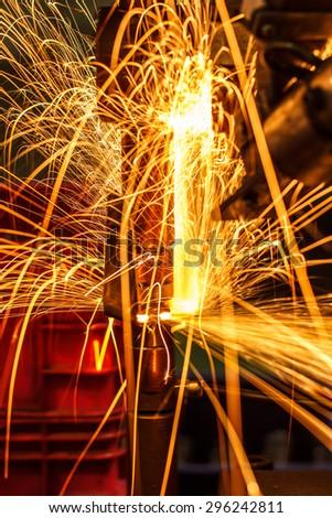 Light on link automotive spot welding Industrial - stock photo
