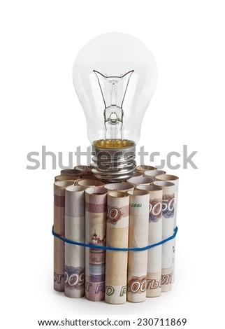Light on money - stock photo