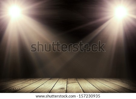 Light on wooden floor in empty room  - stock photo