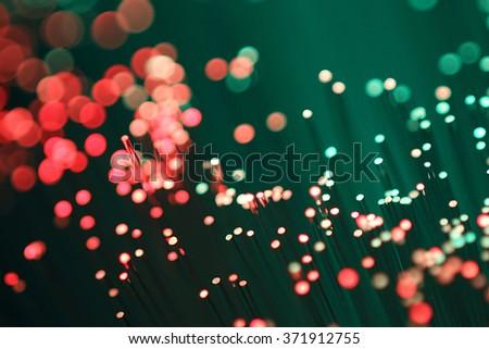 Light optical fibers - stock photo