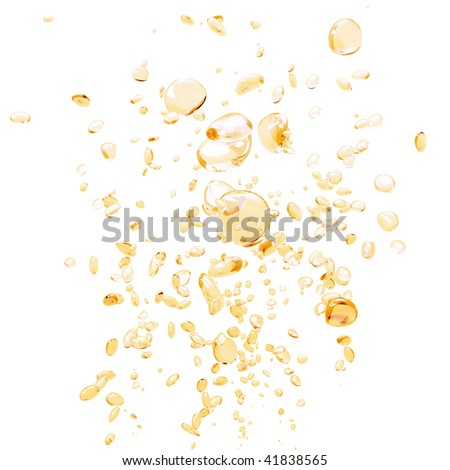 Light orange bubbles on a white background