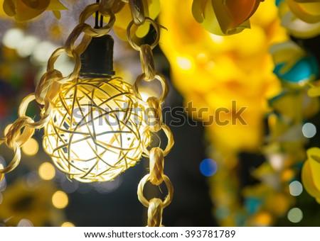 Light orange decorations Spherical lamp decorations during festivals. - stock photo