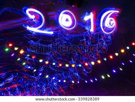 Light Painting by the camera movement on Happy new year festival
