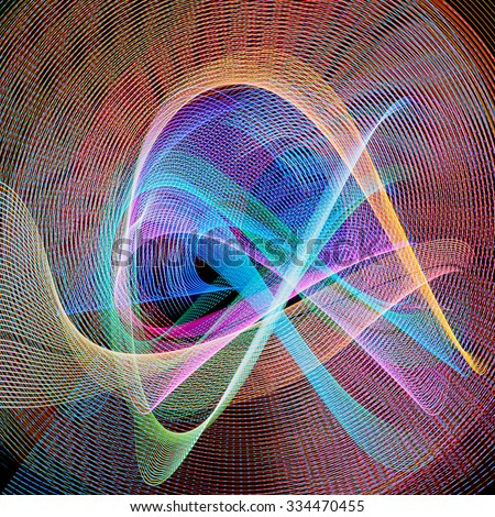 Light painting or light drawing abstract background. Light drawing photo made by moving lights and long exposure - stock photo