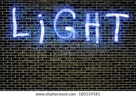 Light Painting words using a LED light panel at night and a long exposure in front of a brick wall - stock photo