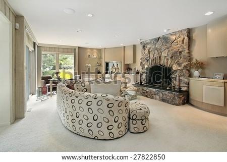 Light paneled living room - stock photo