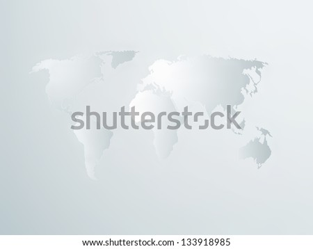 Light paper world map - business background