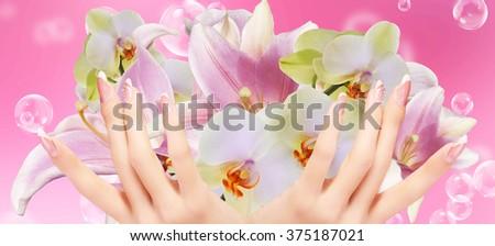 Light Pink  Art  Manicure.  Beauty hands. Fashion Stylish Trendy Colorful Nails - stock photo