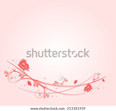 Light pink background decorated with ornaments and butteflies