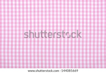 Light Pink Checkered Fabric Closeup , Tablecloth Texture