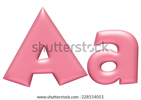Light pink letter A isolated on white background  - stock photo