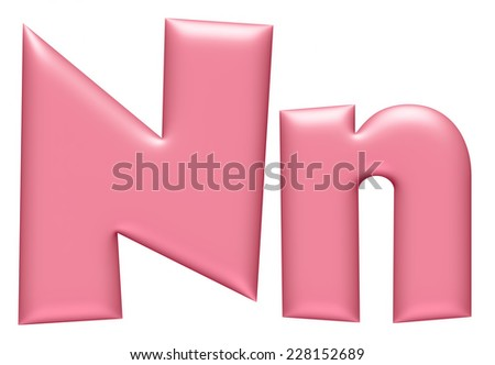 Light pink letter N isolated on white background  - stock photo